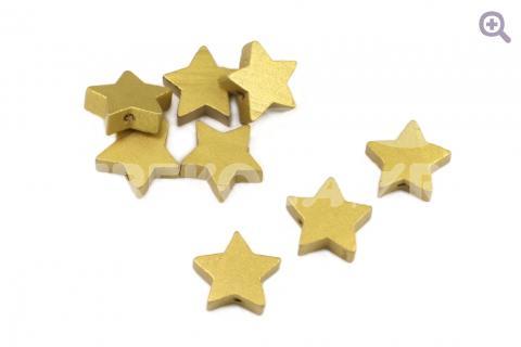 """Бусины """"Звездочки"""" 19мм, цвет: золото, упак.: 5шт, (дерево)"""