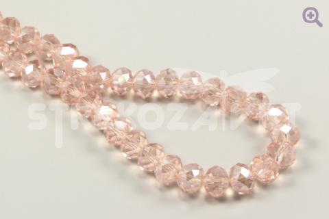 Бусины стеклянные форма рондель (радуж. напыление) 8*6мм, цвет: светло-розовый, 10шт