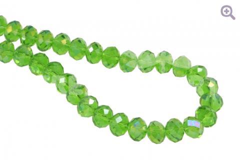 Бусины стеклянные форма рондель (радуж. напыление) 8*6мм, цвет: зелёный, 10шт