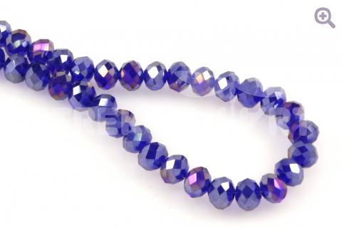 Бусины стеклянные форма рондель (радуж. напыление) 8*6мм, цвет: синий, 10шт