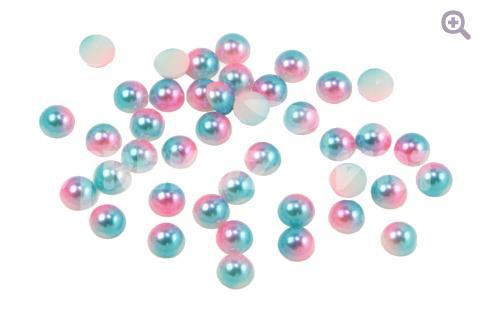 Полубусины под жемчуг градиент 8мм, цвет: розовый/голубой 50шт