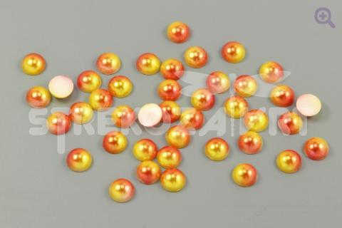 Полубусины под жемчуг градиент 8мм, цвет: оранжевый/желтый 50шт