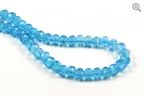 Бусины стеклянные форма рондель 6*4мм, цвет: голубой, 10шт