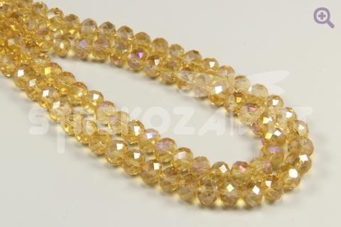 Бусины стеклянные форма рондель (радуж. напыление) 8*6мм, цвет: жёлтый, 10шт