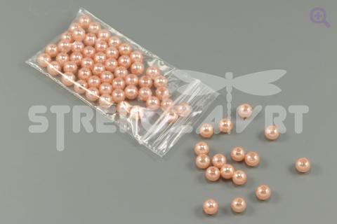 Бусины под жемчуг 6мм, цвет: розово-персиковый, 5г