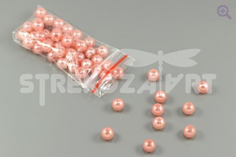 Бусины под жемчуг 8мм, цвет: розовый, 5г