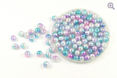 Бусины под жемчуг градиент 8мм, цвет: сиреневый/голубой/жемчужный, 5г