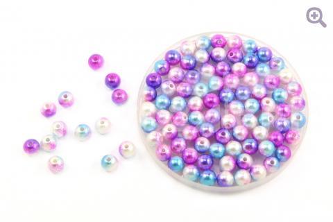 Бусины под жемчуг градиент 6мм, цвет: фуксия/голубой/фиолетовый/жемчужный, 5г