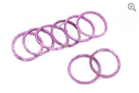 Набор бесшовных резинок для волос (6 шт, с блеском) 3см, цвет: сиреневый