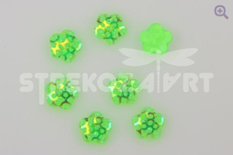 Кабошон Цветок (золотая сетка) 12мм, цвет: зеленый неон