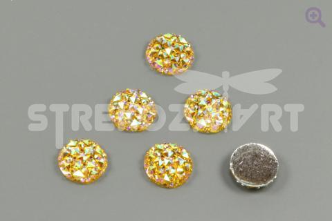 Кабошон Круг (рисунок кристалл) 12мм, цвет: жёлтый