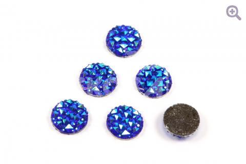 Кабошон Круг (рисунок кристалл) 16мм, цвет: синий