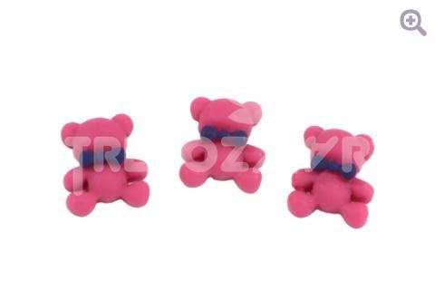 """Кабошон """"Зефирный мишка"""" 12*14мм, цвет: малиновый"""