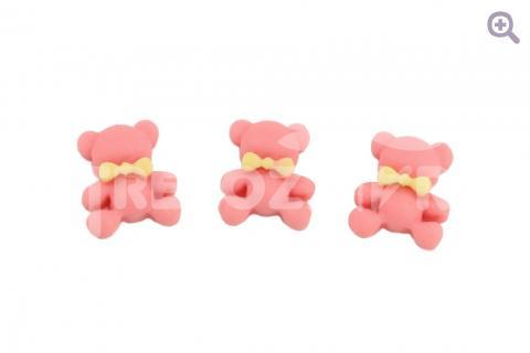 """Кабошон """"Зефирный мишка"""" 12*14мм, цвет: темно-розовый"""