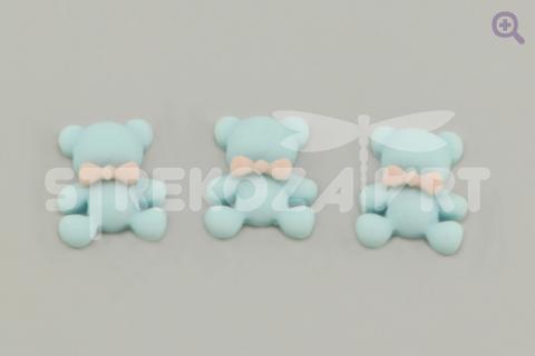 """Кабошон """"Зефирный мишка"""" 12*14мм, цвет: голубой"""
