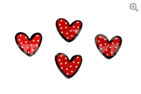 "Кабошон ""Сердце"", 20*19мм, цвет: красный"