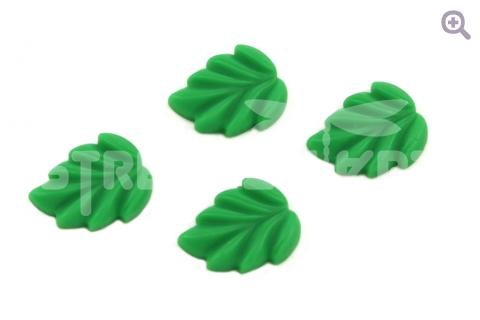 """Кабошон """"Резной лист"""" 16*20мм, цвет: темно-зеленый"""