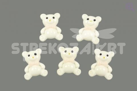"""Кабошон """"Плюшевый мишка"""" 19*24мм, цвет: молочный"""