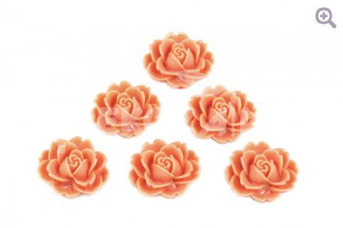 """Кабошон """"Роза"""" (наклонная), 19*17мм, цвет: коралловый"""
