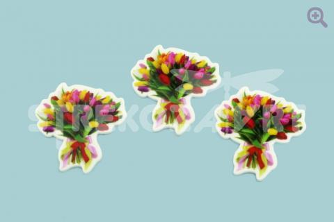 """Кабошон плоский """"Букет тюльпанов"""", 36*40мм"""