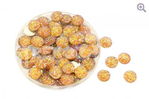 Кабошон Круг (блестящая стружка) 12мм, цвет: оранжевый