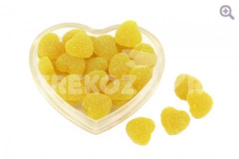 """Кабошон """"Мармеладные сердечки"""" (с сахаром) 17*16мм, цвет: лимонный"""