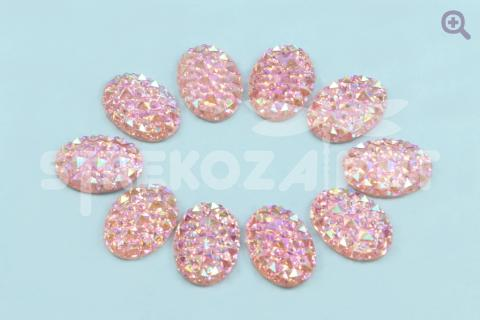 Кабошон Овал (рисунок кристалл) 13*18мм, цвет: светло-розовый