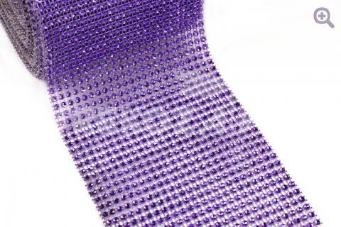 Стразовая лента (имитация страз) 12см=24ряда,10см, цвет: фиолетовый