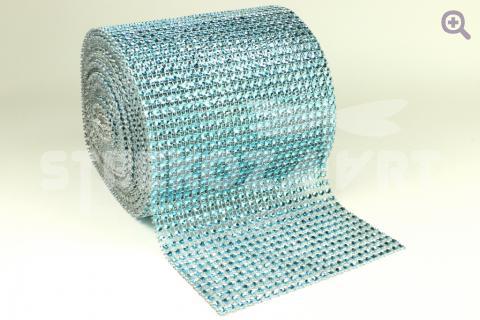 Стразовая лента (имитация страз) 12см=24ряда, цвет: голубой, 10см