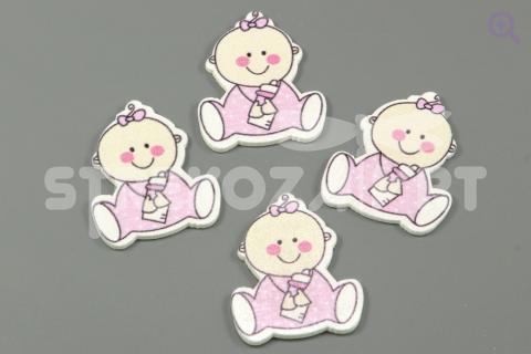 """Декор """"Малыш с бутылочкой"""" 35*30*2мм (дерево), цвет: розовый"""