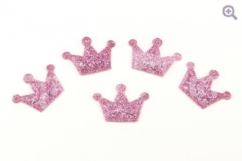 Патч Корона глиттер 22*20мм, цвет: светло-розовый
