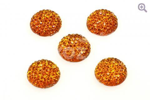 Кабошон круг 18мм, акрил, блестящий, цвет: тёмно-оранжевый