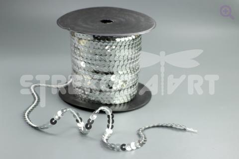 Пайетки на нити 6мм, цвет: серебро