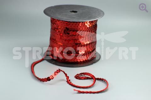 Пайетки на нити 6мм, цвет: красный
