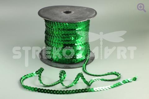 Пайетки на нити 6мм, цвет: зеленый