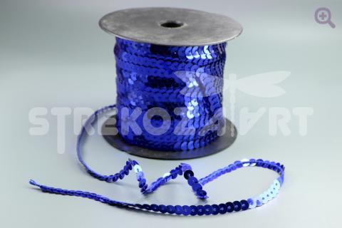 Пайетки на нити 6мм, цвет: синий