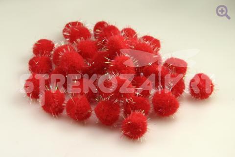 Помпон с люрексом 3см, цвет: красный