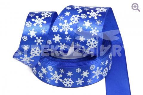 """Лента атласная с рисунком 25мм, рис. """"Снежное утро"""", цвет: синий"""