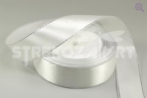 Лента атласная с люрексом 6мм, цвет: белый/серебро