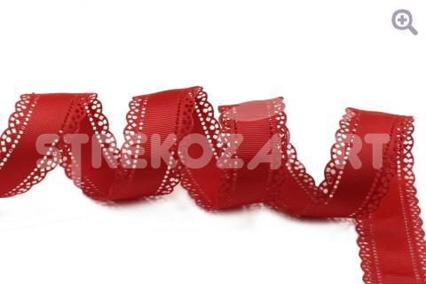 "Лента декоративная ""Ажур"" 28мм, цвет: красный, перфорация по краям"