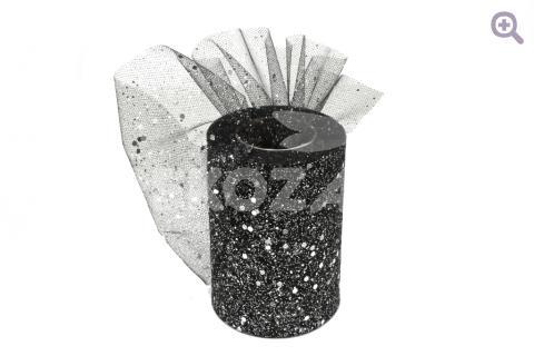 """Фатин """"Сияние"""" 10см, цвет: черный (серебряные блестки)"""