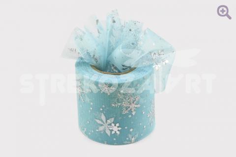 """Фатин """"Снегопад"""" 60мм, цвет: голубой (серебряные снежинки)"""