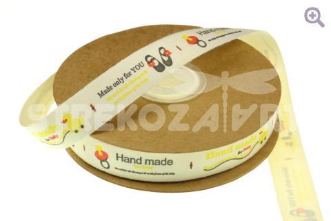 Лента льняная HAND MADE 15мм (1,015м), рис: коляска/босоножки