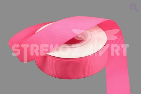 Лента репсовая однотонная 25мм, цвет: неоново-розовый