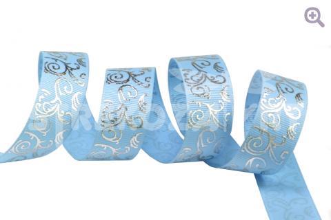 """Лента репсовая с рисунком """"Вензель"""", цвет: светло-голубой+серебро, 22мм"""