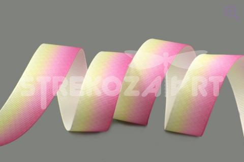 """Лента репсовая с рисунком """"Геометрический градиент"""", цвет: розовый/светло-желтый, 22мм"""