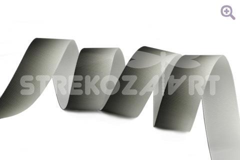 Лента репсовая градиент, 25мм, цвет: черный/белый