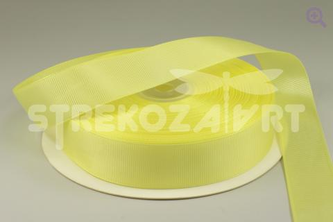 Лента репсовая однотонная 12мм, цвет:  светло-лимонный