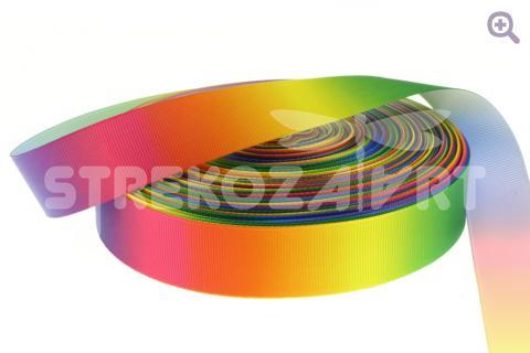 Лента репсовая градиент, 25мм, цвет: радужный