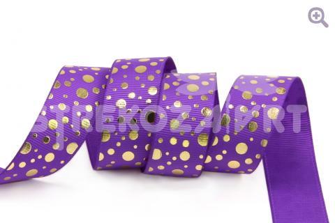 """Лента репсовая с рисунком 22мм, """"Золотой горошек"""", цвет: фиолетовый"""